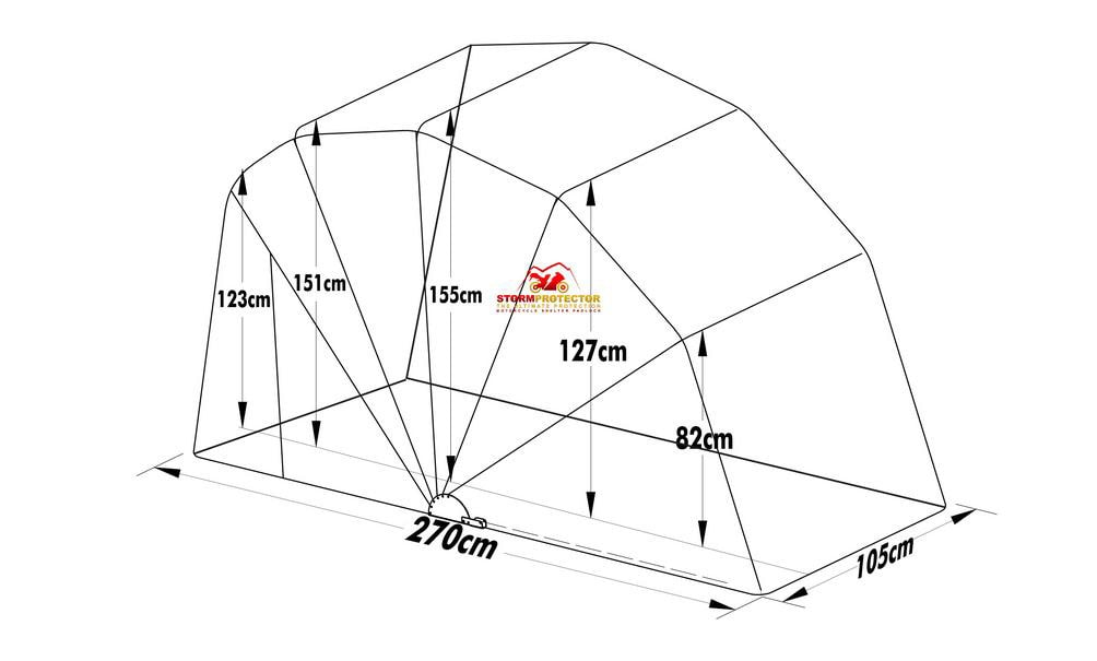 motorcycle cover shelter standard size dimensions